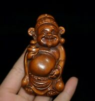 Noble chinese fengshui old boxwood carve Wealth God statue netsuke home decor