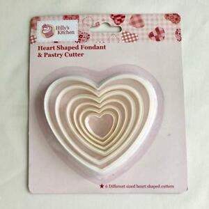 Heart Shaped Fondant & Pastry Cutter 6 Piece