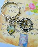 Miraculous Mini Medal Heart Christian Gift Floral Cross Charm Keyring/Bag/Purse