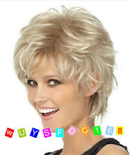 Fashion wig New sexy Women's short Blonde Synthetic wigs + Free Wig cap