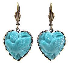 SoHo® Ohrhänger Ohrringe bohemia Glas bronze Herz türkis 1960s handmade Taube