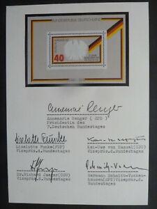 Renger, Funke, Hassel, Jaeger - 5 Bundestagspräsidenten, U. mit Gedenkbriefmark