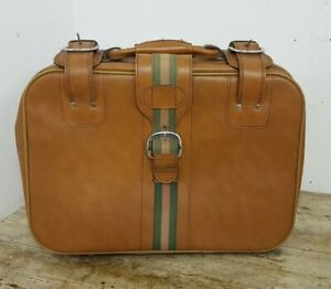 Vintage Retro 50 cm Tan & Green Hand Luggage Faux Leather Suitcase