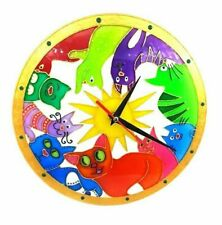 Cartoon children stained glass wall clock with rainbow cats - Cat Lover Gift