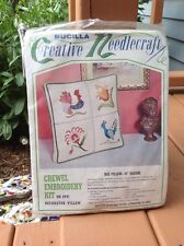 Bucilla Crewel Embroidery Kit Rooster Bird Floral Linen Pillow Vintage 1970s