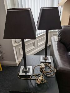 Table Lamps (Pair) (Black, Metal/Mirror, Modern/Contemporary, Leather Trim)