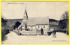 cpa 27 - AUTHOU (Eure) Village L' ÉGLISE SAINT AUBIN Animée