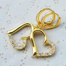 Sparkly Delicate 9K Yellow Gold GF Heart Shape Earrings inlaid 16 Crystal Stones