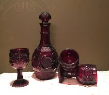 • Avon 1876 Cape Cod Collection Ruby Decanter and 3 Goblets