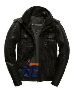 """Superdry Ryan Four Pocket Distressed Leather Jacket Size L: 40"""" (102cm) RRP £199"""