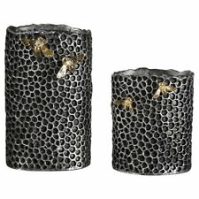 Uttermost Hive 2 Piece Vase Set in Aged Black and Gold