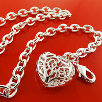 A916 GENUINE REAL 925 STERLING SILVER S/F HEART CHARM PENDANT NECKLACE CHAIN