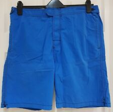 Mens Blue Cotton Shorts. Swim. Casual Size XL. ELASTIC WAISTBAND. ZIP POCKETS.
