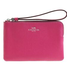 NWT Coach F58032 Zip Wristlet  In Crossgrain Leather Cerise $75