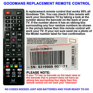 GOODMANS REMOTE CONTROL A REPLACEMENT THAT WORKS 90% OF ALL LCD/LED MODELS