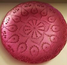 OPAQUE ROUND GLASS SERVING PLATTER FUSCHIA OR HOT PINK IN 3D BEADED DESIGN