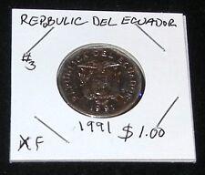 Republic Of Ecuador 1991 (Extra Fine) 10 Sucres Coin