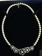 Swarovski Faux Pearl & Silver/Crystal Floral Necklace Signed -New in Box!
