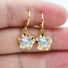 18K Yellow Gold Filled Flower Crystal Round Topaz Zircon Gems Women Earrings