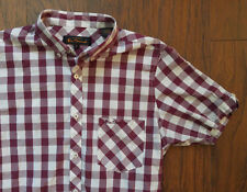 Ben Sherman Shirt Button Gingham Check Maroon Burgundy Red Small Short Sleeves