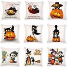 Halloween Throw Pillow Cover Burlap Look Zippered Rustic -Choose design