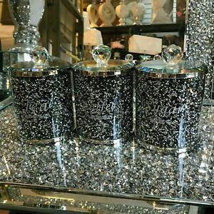 Tea Coffee Sugar Canisters Jars Crushed Diamond Black Crystal Filled Storage UK
