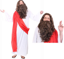 JESUS CHRIST COSTUME FANCY DRESS ROBE BROWN WIG AND BEARD CHRISTMAS RELIGIOUS