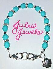 Czech Glass Saturated Teal Blue Medical Alert ID Bracelet SUMMER!