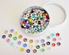 Scrapbooking Eyelets 160 Scalloped Flowers Bonus Storage Tin 32 Clrs Stamping