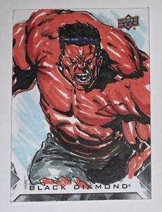 2021 UD Marvel Black Diamond Original Art Sketch Card RED HULK by Ken Racho 1/1