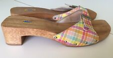 Dr Scholls Original Womens Sandals Sz 9M Leather Plaid Pink Exercise Wood Slides