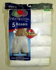 FRUIT OF THE LOOM Men's Relaxed Fit Boxers White 5 Pack  Small, Medium & Large