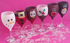 6 GLITTER GLASSES CHRISTMAS DECORATION PARTY RHINESTONE GEM DRINK PRESENT GIFT