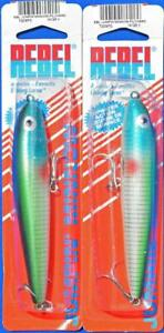 ( 2 ) REBEL JUMPIN MINNOW TOPWATER LURES ( PILCHARD )