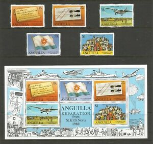 Anguilla 1980 Separation From St Kitts Mounted Mint Set + Mini Sheet SG443/8