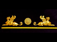 LARGE FRENCH ANTIQUE EMPIRE SPHINX GRIFFIN GILT WALL MOULDING ONLAY APPLIQUE