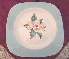 """RARE! Lifetime China Co. 6 Square Salad Plates Turquoise w/Magnolia 7.75"""" -  330"""