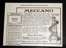 1916 OLD MAGAZINE PRINT AD, MECCANO HELTER-SKELTER ROLLER COASTER, 300 MODELS!