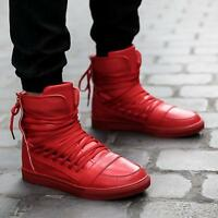 Fashion Mens High Top Sneakers Lace Up Back Zip Flats Casual Sport Shoes Boots
