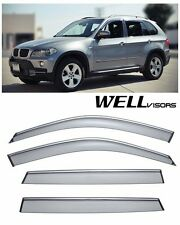For 07-UP BMW X5 WellVisors Side Window Visors W/ Chrome Trim