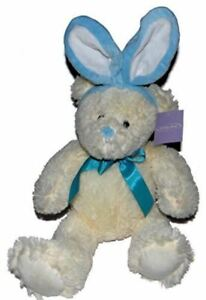 Fluffy White Bear with Blue Bunny Ears Plush Stuffed Toy Appx 16 Inches NEW