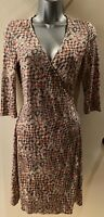 Hoss Intropia Multicoloured Wrap Dress With 3/4 Sleeves Size 38 UK 10