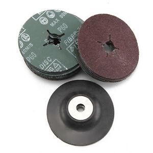 Polisher Grinder 115mm Rubber Backing Pad + 30 Fibre Sanding Discs Grinder UK