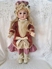 "ANTIQUE 19"" FRENCH SFBJ 60 BISQUE HEAD DOLL ORIGINAL WOOD BODY BEAUTIFUL CLOTHES"