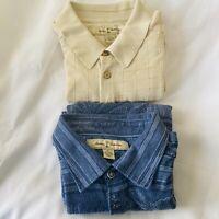LOT of 2 Tommy Bahama Mens Sz LARGE Short Sleeve Polo Shirt Silk Cotton Blend