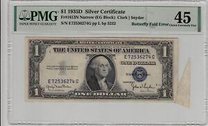 Fr 1613N 1935D $1 Silver Certificate Butterfly Fold Error PMG Choice XF 45