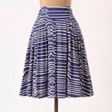 MAEVE Anthropologie Blue White Geometric Circle Full Pleated $128 Skirt Sz 0