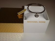 Michael Kors Women's Gifting MK Logo Charm Silver Bangle Bracelet MKJ4837040+BOX
