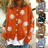 Women Floral Print Long Sleeve Knitted Fluffy Cardigan Lady Sweater Coat Jacket