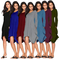 Women Drape Long Sleeve Baggy Dress Side Pockets Irregular Solid Short Dresses